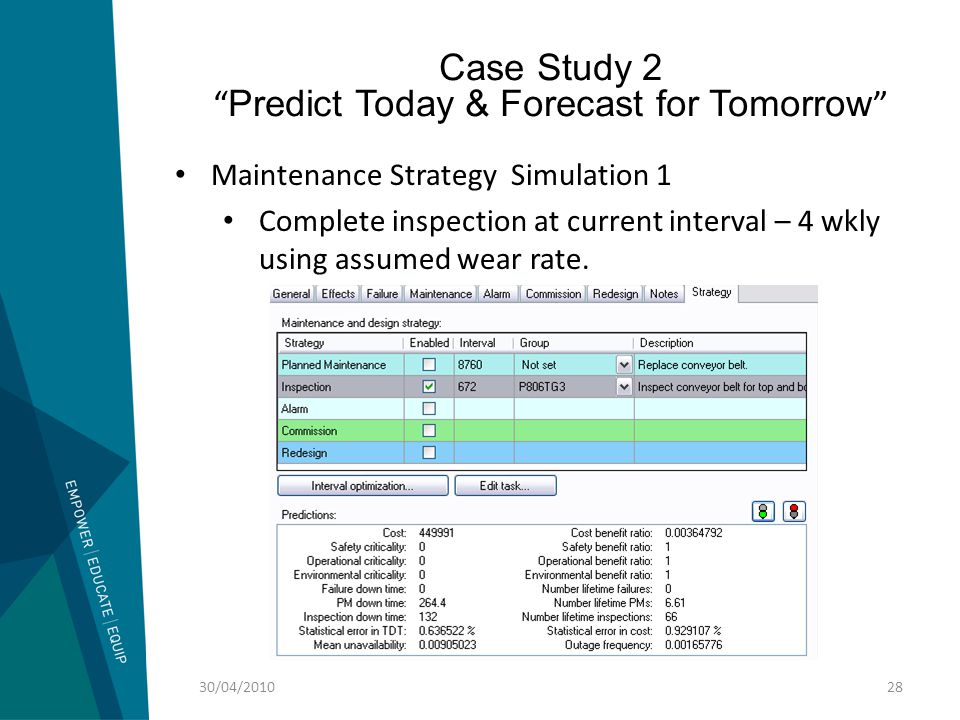 """Case Study 2 """" Predict Today & Forecast for Tomorrow """" 30/04/201028 Maintenance Strategy Simulation 1 Complete inspection at current interval – 4 wkly"""