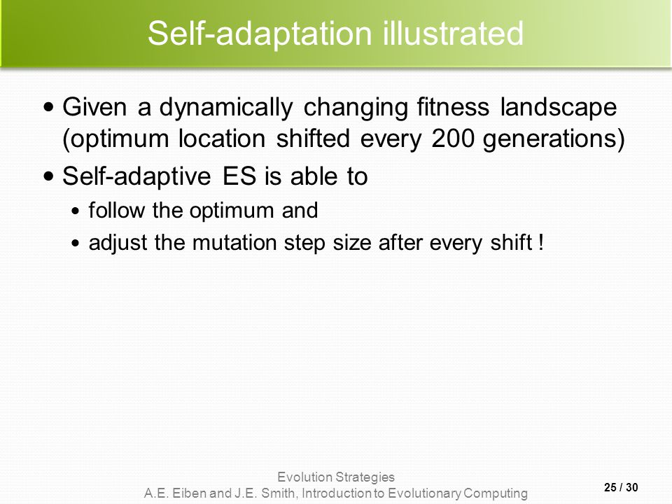 Evolution Strategies A.E. Eiben and J.E. Smith, Introduction to Evolutionary Computing Self-adaptation illustrated Given a dynamically changing fitnes