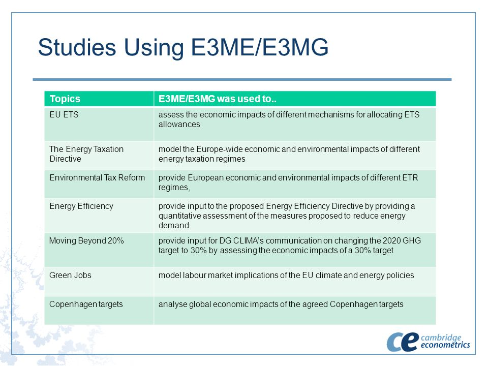 Studies Using E3ME/E3MG TopicsE3ME/E3MG was used to.. EU ETSassess the economic impacts of different mechanisms for allocating ETS allowances The Ener