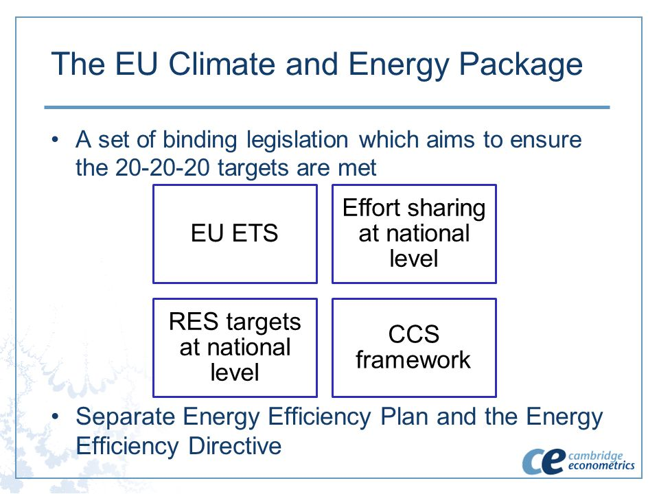 The EU Climate and Energy Package A set of binding legislation which aims to ensure the 20-20-20 targets are met Separate Energy Efficiency Plan and t