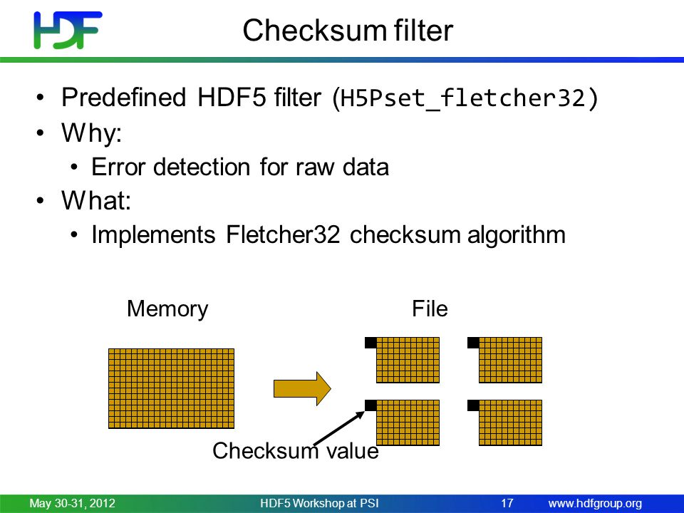 www.hdfgroup.org 17 Checksum filter Predefined HDF5 filter ( H5Pset_fletcher32) Why: Error detection for raw data What: Implements Fletcher32 checksum algorithm Checksum value MemoryFile May 30-31, 2012HDF5 Workshop at PSI