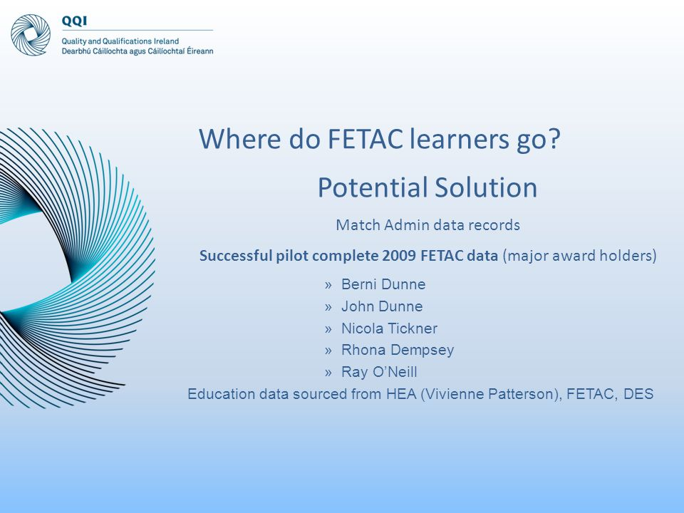 Potential Solution Match Admin data records Successful pilot complete 2009 FETAC data (major award holders) »Berni Dunne »John Dunne »Nicola Tickner »Rhona Dempsey »Ray O'Neill Education data sourced from HEA (Vivienne Patterson), FETAC, DES Where do FETAC learners go?