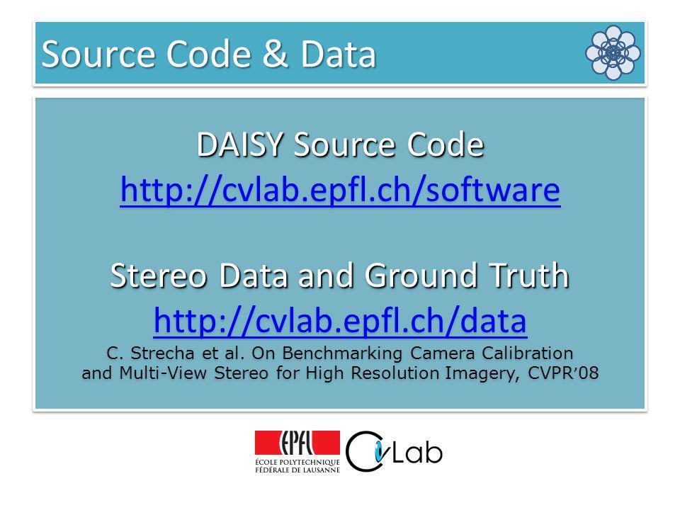 DAISY Source Code http://cvlab.epfl.ch/software Stereo Data and Ground Truth http://cvlab.epfl.ch/data C. Strecha et al. On Benchmarking Camera Calibr