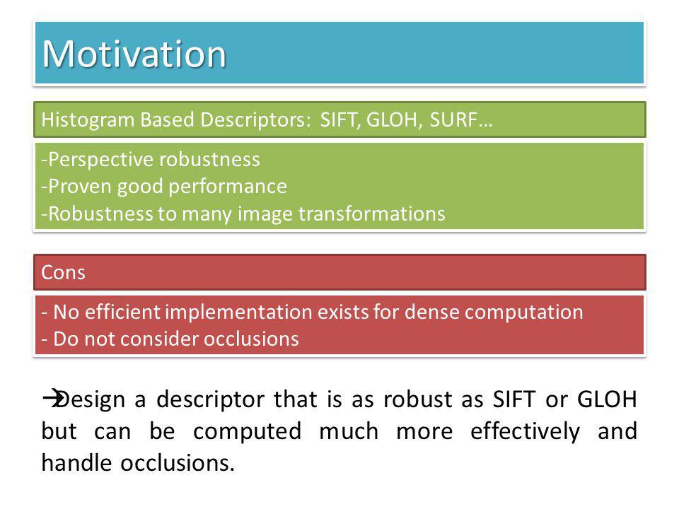 MotivationMotivation Histogram Based Descriptors: SIFT, GLOH, SURF… -Perspective robustness -Proven good performance -Robustness to many image transfo