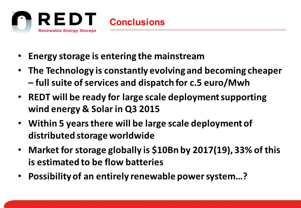 Conclusions Energy storage is entering the mainstream The Technology is constantly evolving and becoming cheaper – full suite of services and dispatch