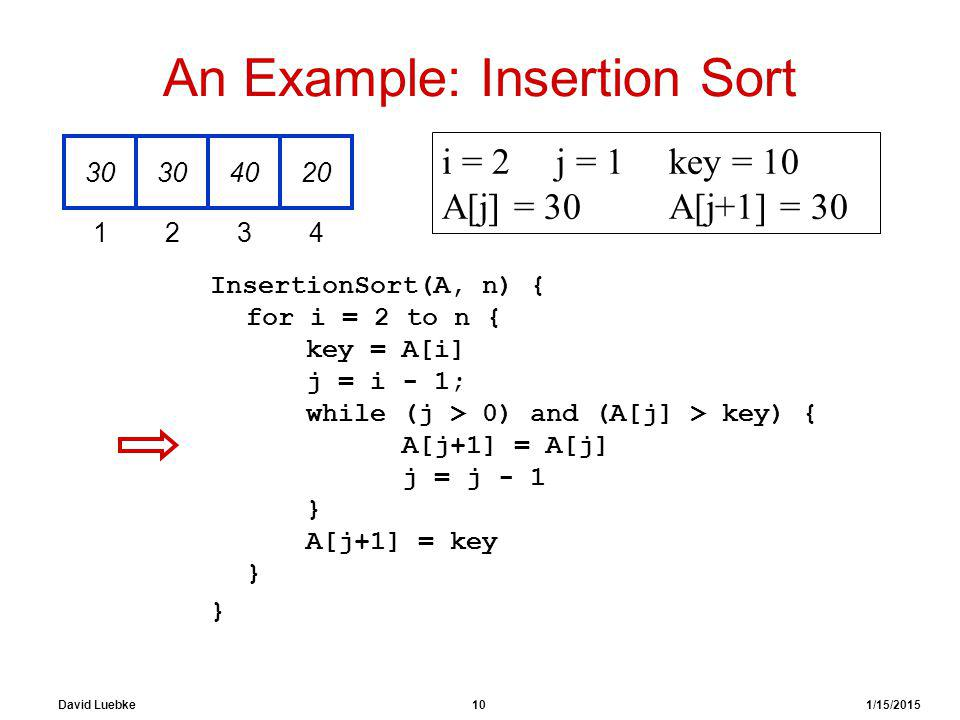 David Luebke 10 1/15/2015 An Example: Insertion Sort InsertionSort(A, n) { for i = 2 to n { key = A[i] j = i - 1; while (j > 0) and (A[j] > key) { A[j+1] = A[j] j = j - 1 } A[j+1] = key } } 30 4020 1234 i = 2j = 1key = 10 A[j] = 30 A[j+1] = 30