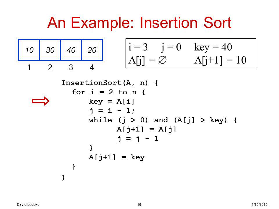 David Luebke 16 1/15/2015 An Example: Insertion Sort InsertionSort(A, n) { for i = 2 to n { key = A[i] j = i - 1; while (j > 0) and (A[j] > key) { A[j+1] = A[j] j = j - 1 } A[j+1] = key } } 10304020 1234 i = 3j = 0key = 40 A[j] =  A[j+1] = 10