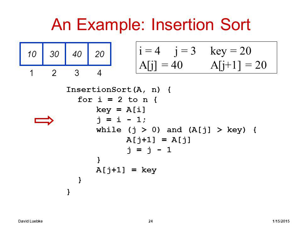 David Luebke 24 1/15/2015 An Example: Insertion Sort InsertionSort(A, n) { for i = 2 to n { key = A[i] j = i - 1; while (j > 0) and (A[j] > key) { A[j+1] = A[j] j = j - 1 } A[j+1] = key } } 10304020 1234 i = 4j = 3key = 20 A[j] = 40 A[j+1] = 20