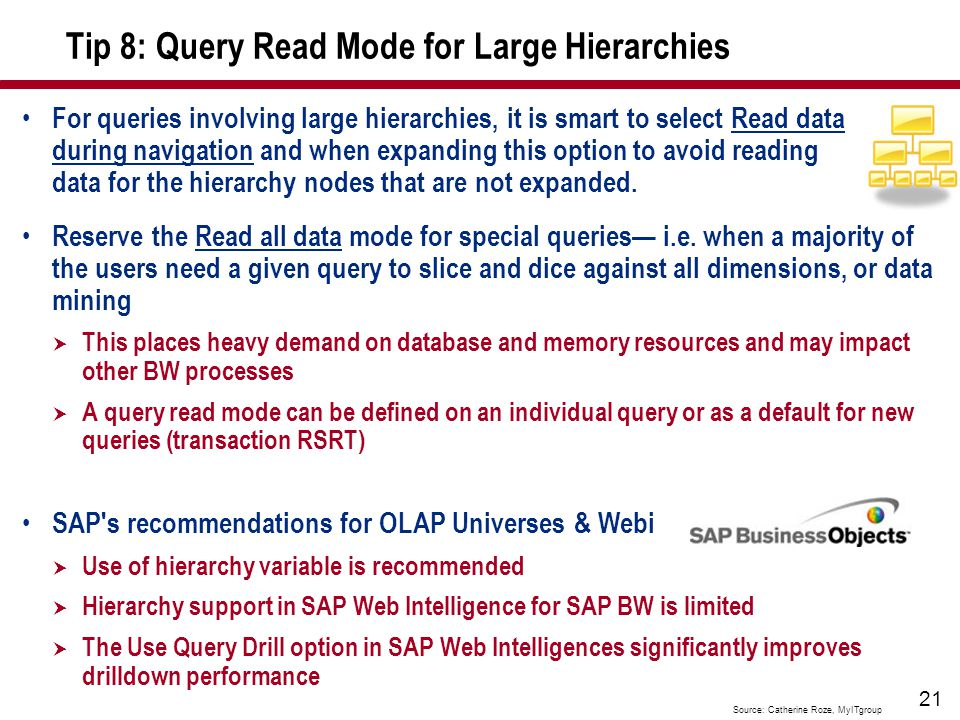 21 Tip 8: Query Read Mode for Large Hierarchies Reserve the Read all data mode for special queries— i.e.