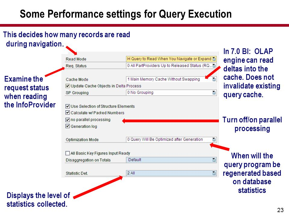 23 Some Performance settings for Query Execution This decides how many records are read during navigation. Examine the request status when reading the
