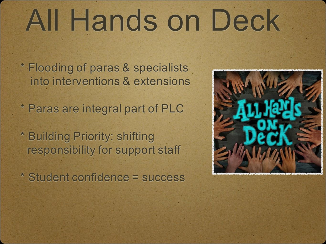 All Hands on Deck * Flooding of paras & specialists into interventions & extensions * Paras are integral part of PLC * Building Priority: shifting responsibility for support staff * Student confidence = success * Flooding of paras & specialists into interventions & extensions * Paras are integral part of PLC * Building Priority: shifting responsibility for support staff * Student confidence = success