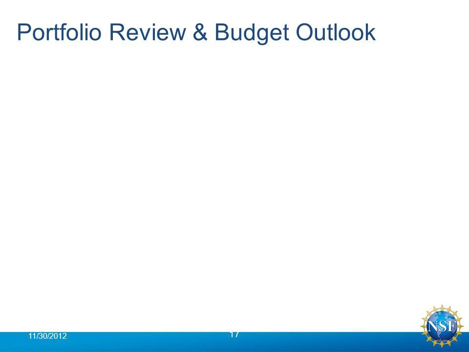 Portfolio Review & Budget Outlook 17 11/30/2012