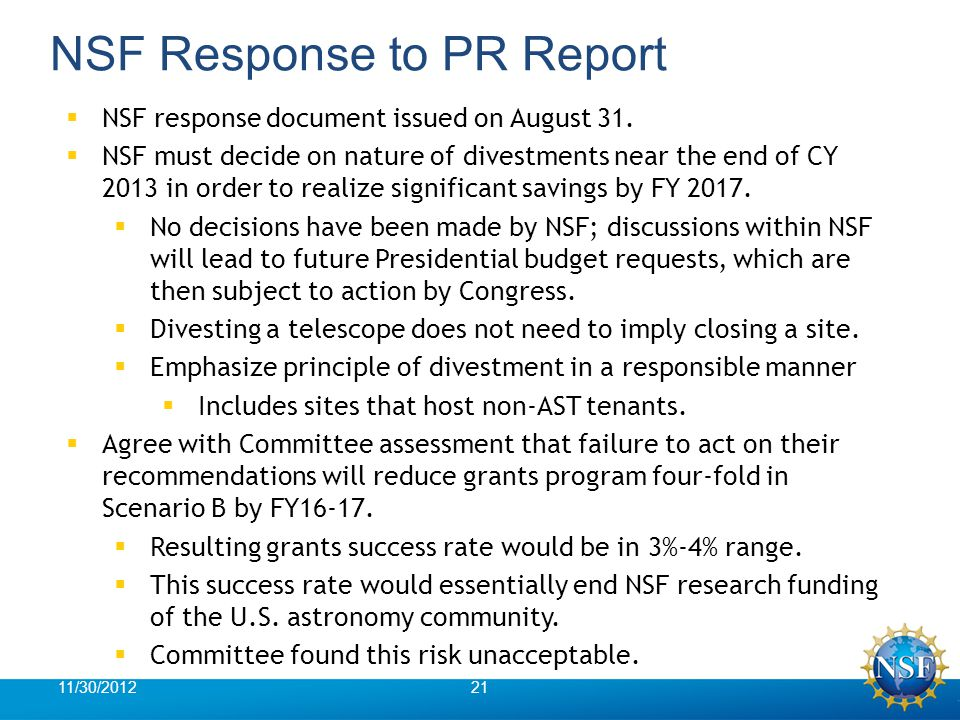 NSF Response to PR Report  NSF response document issued on August 31.