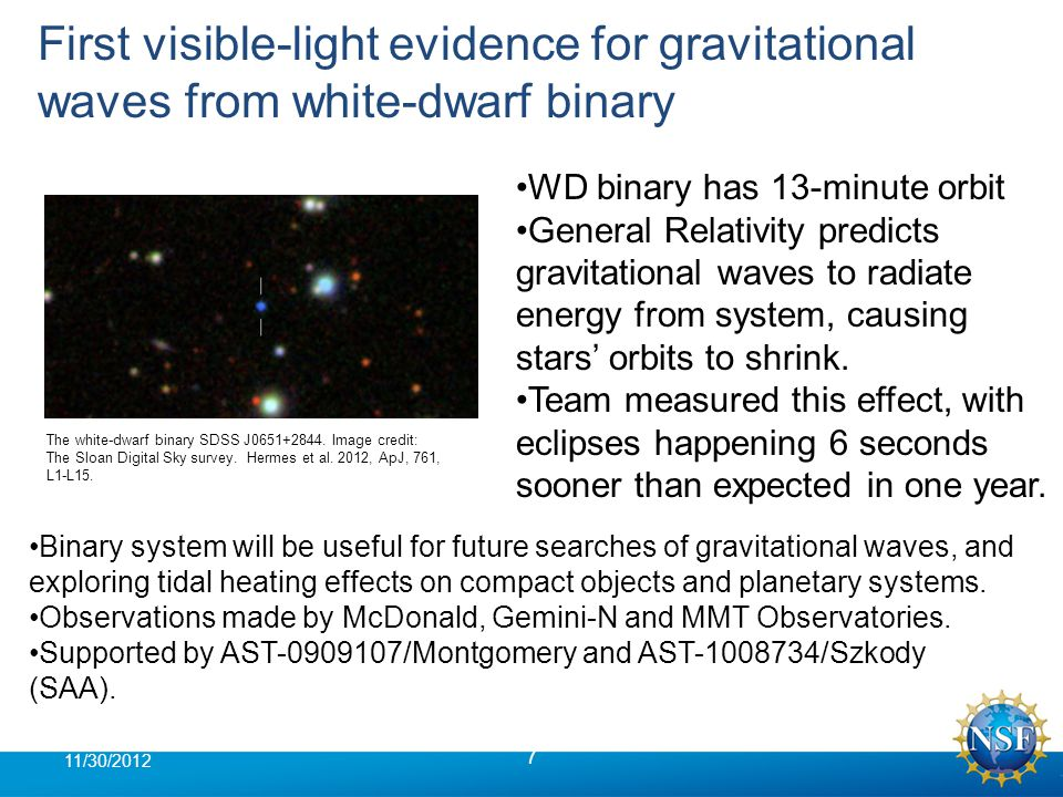First visible-light evidence for gravitational waves from white-dwarf binary 7 11/30/2012 WD binary has 13-minute orbit General Relativity predicts gravitational waves to radiate energy from system, causing stars' orbits to shrink.