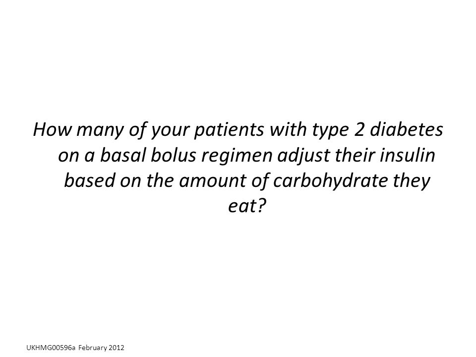 How many of your patients with type 2 diabetes on a basal bolus regimen adjust their insulin based on the amount of carbohydrate they eat.