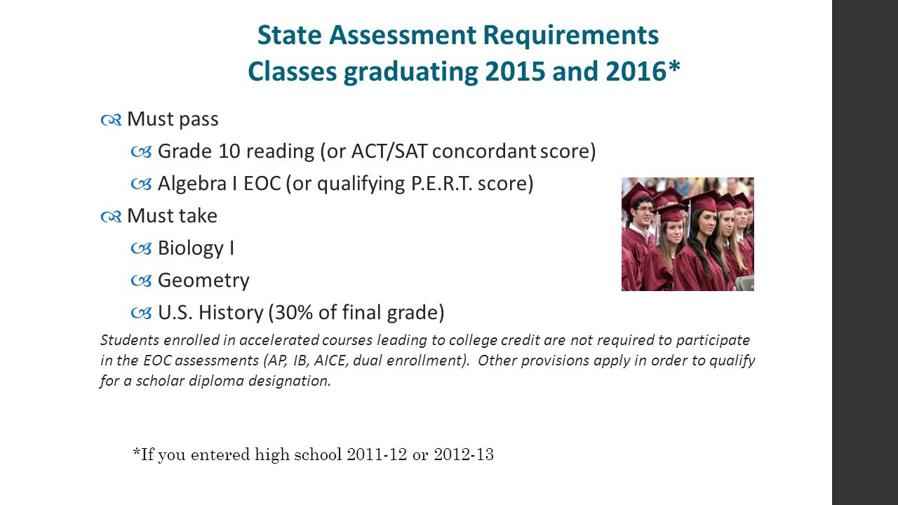 State Assessment Requirements Classes graduating 2015 and 2016*  Must pass  Grade 10 reading (or ACT/SAT concordant score)  Algebra I EOC (or quali