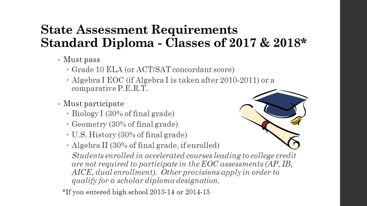 State Assessment Requirements Standard Diploma - Classes of 2017 & 2018* Must pass  Grade 10 ELA (or ACT/SAT concordant score)  Algebra I EOC (if Algebra I is taken after 2010-2011) or a comparative P.E.R.T.
