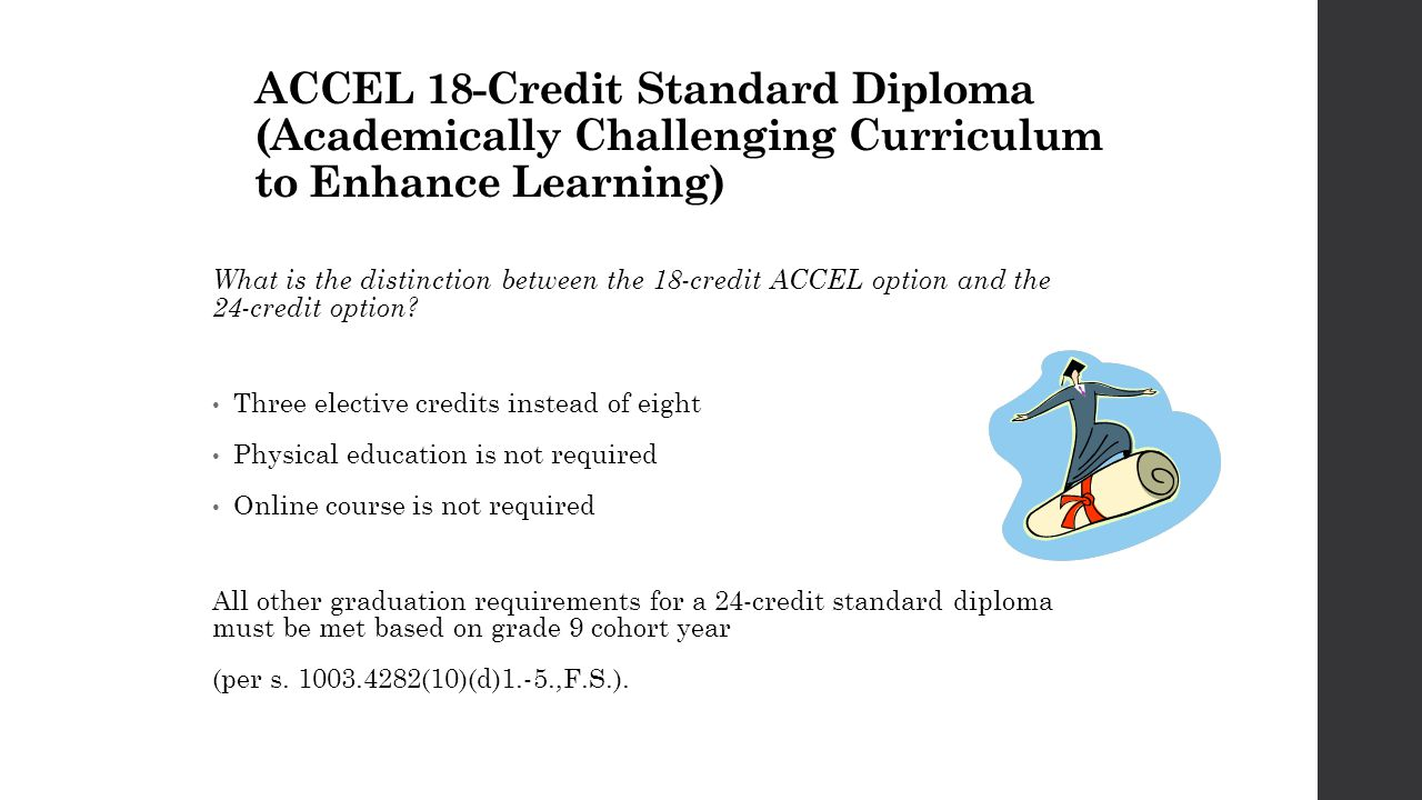 ACCEL 18-Credit Standard Diploma (Academically Challenging Curriculum to Enhance Learning) What is the distinction between the 18-credit ACCEL option and the 24-credit option.