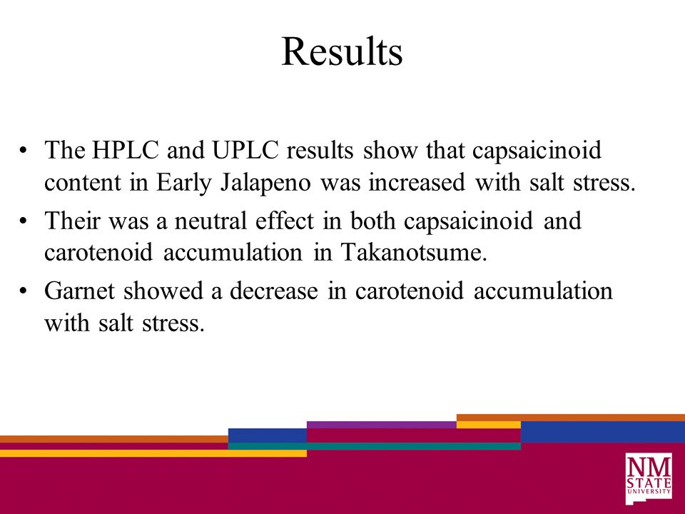 Results The HPLC and UPLC results show that capsaicinoid content in Early Jalapeno was increased with salt stress.