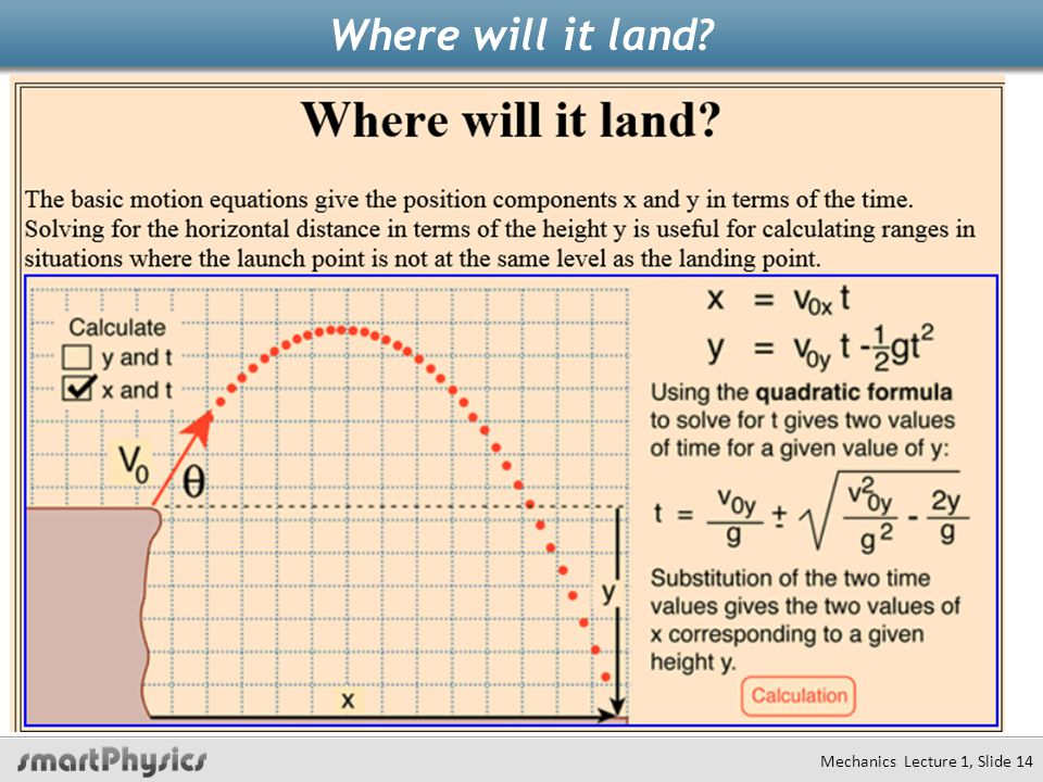 Where will it land? Mechanics Lecture 1, Slide 14
