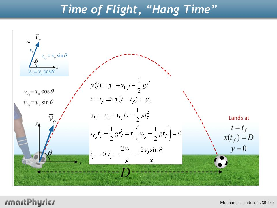 Mechanics Lecture 2, Slide 18 Field Goal Example A field goal kicker can kick the ball 30 m/s at an angle of 30 degrees w.r.t.