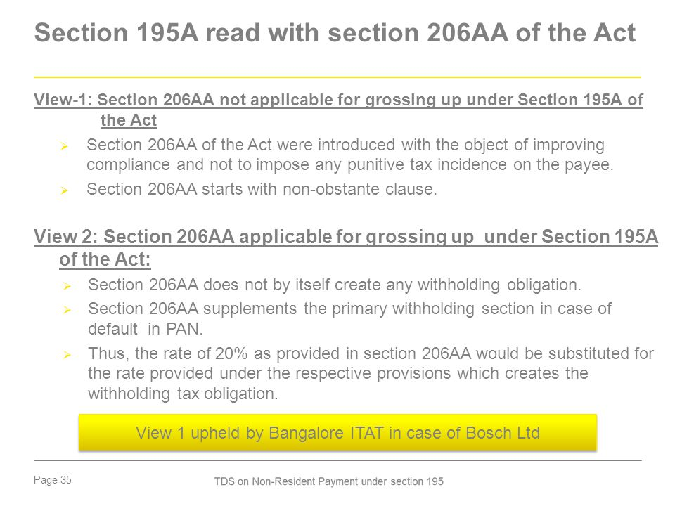 Page 35 Section 195A read with section 206AA of the Act View-1: Section 206AA not applicable for grossing up under Section 195A of the Act  Section 2