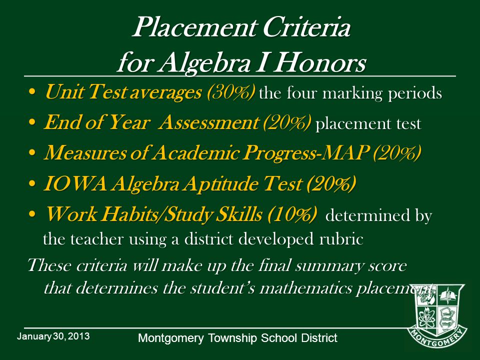 Montgomery Township School District Placement Criteria for Algebra I Honors Unit Test averages (30%) the four marking periodsUnit Test averages (30%)