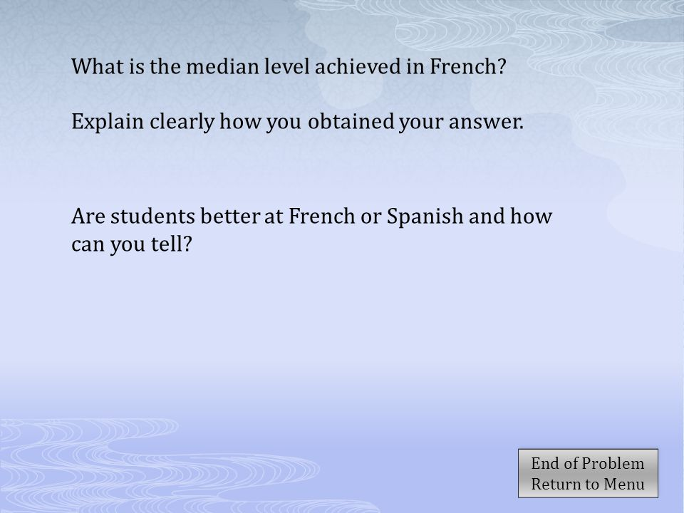 What is the median level achieved in French? Explain clearly how you obtained your answer. Are students better at French or Spanish and how can you te