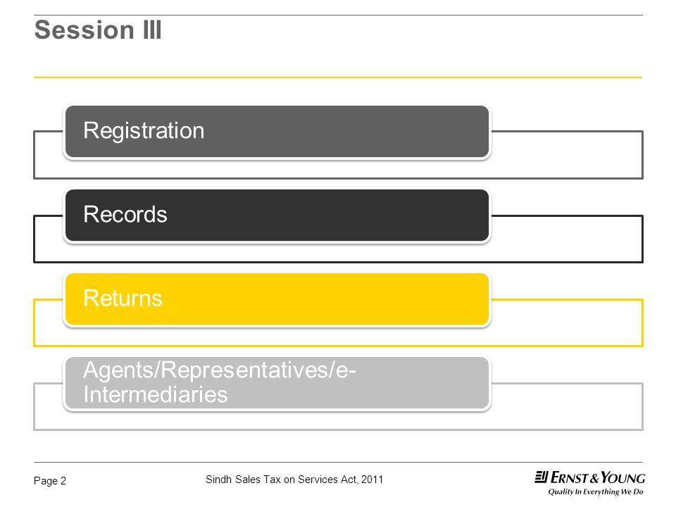 Page 2 Session III RegistrationRecordsReturns Agents/Representatives/e- Intermediaries
