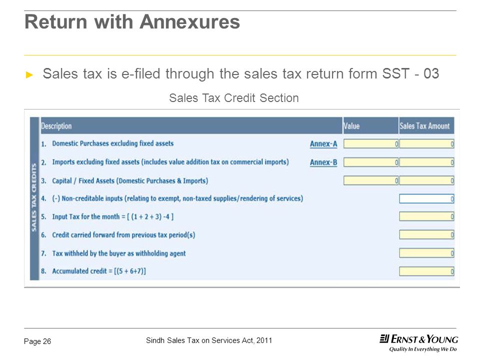 Sindh Sales Tax on Services Act, 2011 Page 26 Return with Annexures ► Sales tax is e-filed through the sales tax return form SST - 03 Sales Tax Credit