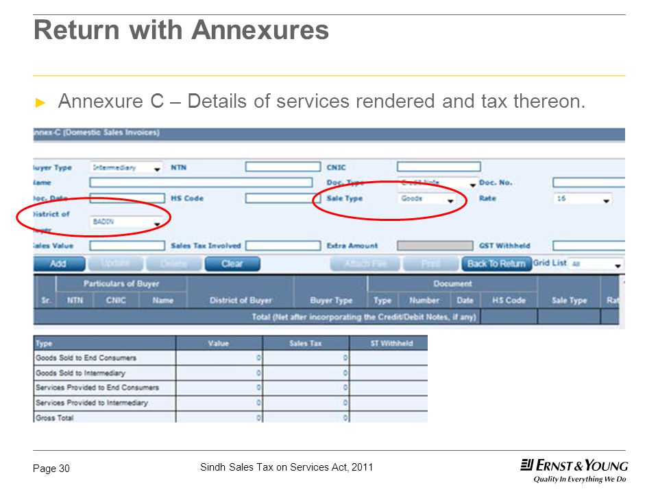 Sindh Sales Tax on Services Act, 2011 Page 30 Return with Annexures ► Annexure C – Details of services rendered and tax thereon.
