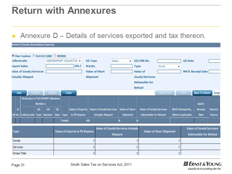 Sindh Sales Tax on Services Act, 2011 Page 31 Return with Annexures ► Annexure D – Details of services exported and tax thereon.