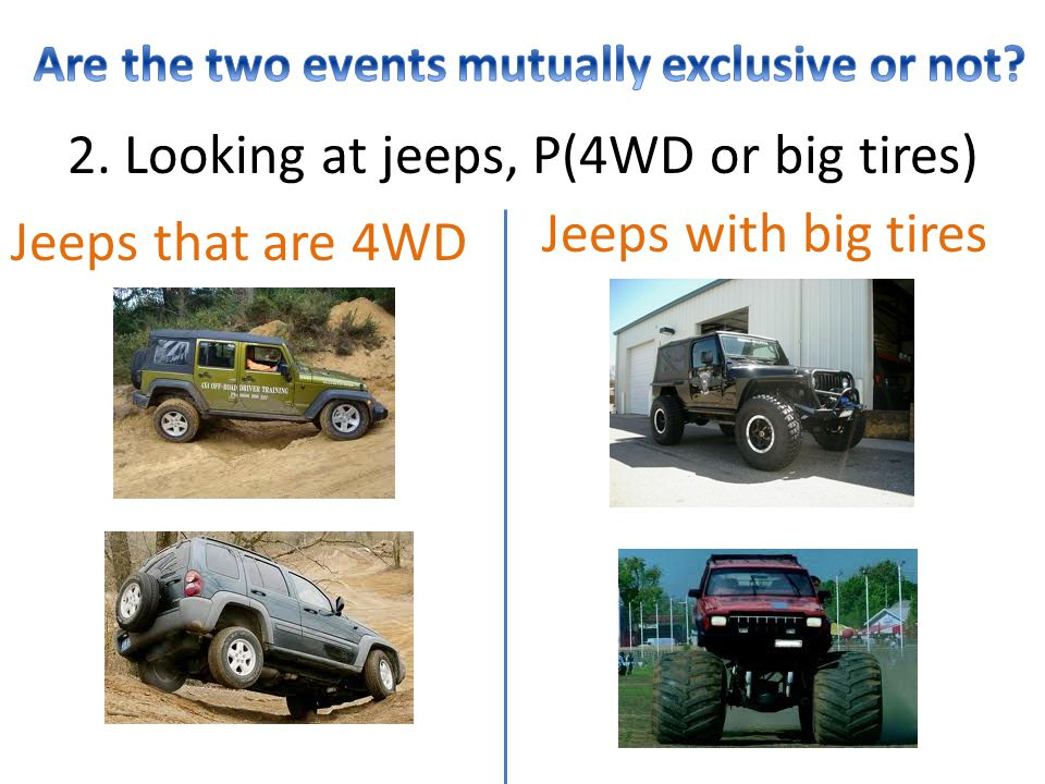 2. Looking at jeeps, P(4WD or big tires) Jeeps that are 4WD Jeeps with big tires