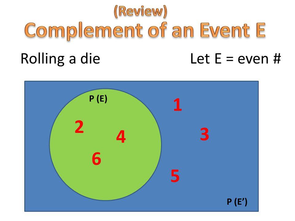 Rolling a die Let E = even # P (E) P (E') 2 6 4 5 3 1