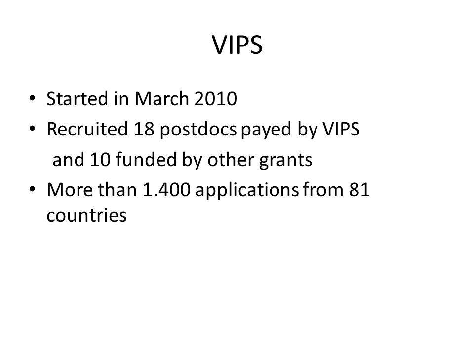 VIPS Started in March 2010 Recruited 18 postdocs payed by VIPS and 10 funded by other grants More than 1.400 applications from 81 countries