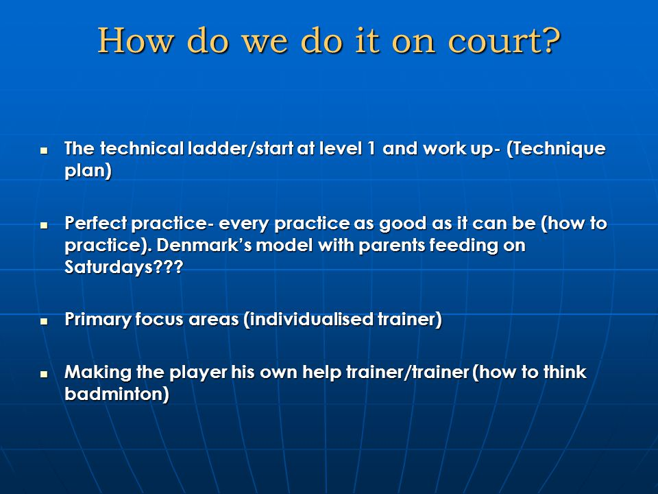 How do we do it on court.