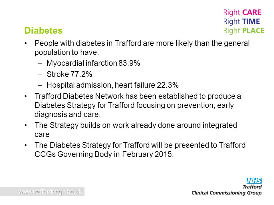 People with diabetes in Trafford are more likely than the general population to have: –Myocardial infarction 83.9% –Stroke 77.2% –Hospital admission,