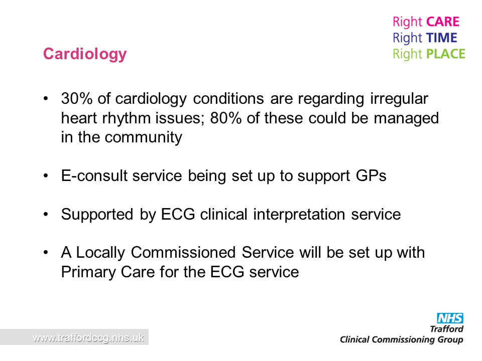 30% of cardiology conditions are regarding irregular heart rhythm issues; 80% of these could be managed in the community E-consult service being set u