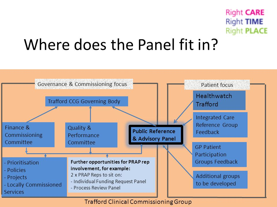 Patient focus Where does the Panel fit in? Trafford Clinical Commissioning Group Healthwatch Trafford - Prioritisation - Policies - Projects - Locally