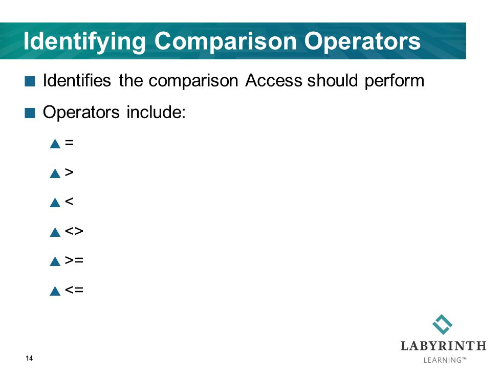 Identifying Comparison Operators Identifies the comparison Access should perform Operators include:  =  >  <  <>  >=  <= 14