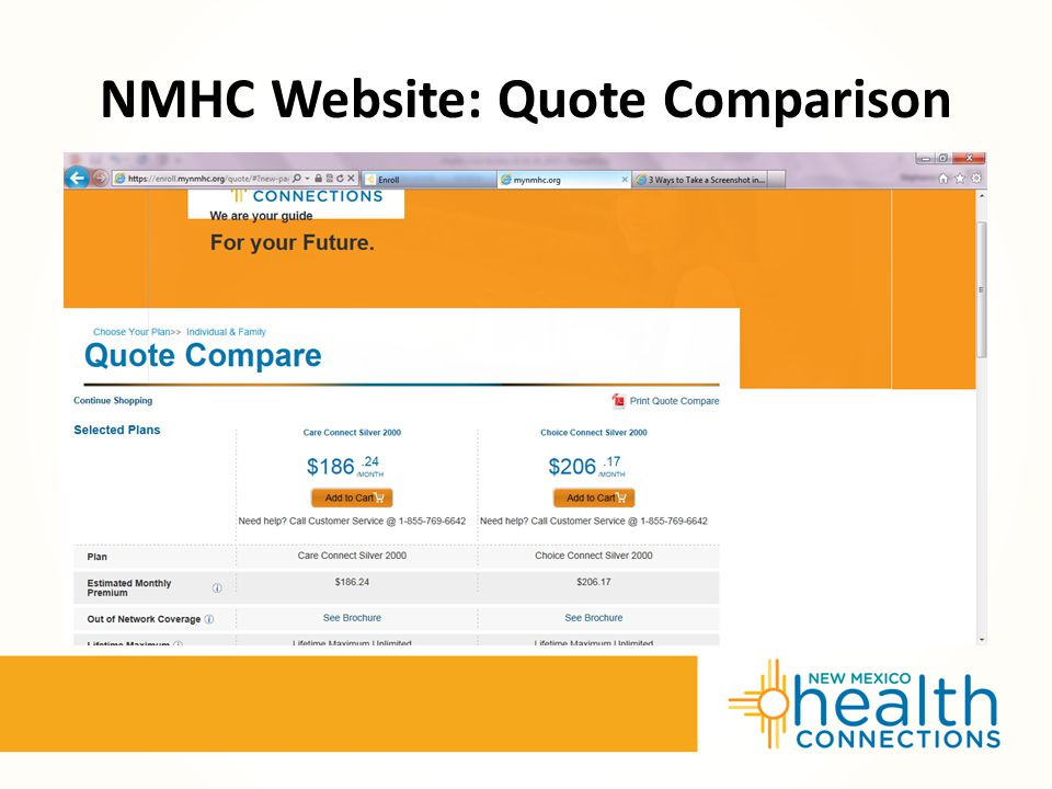 NMHC Website: Quote Comparison