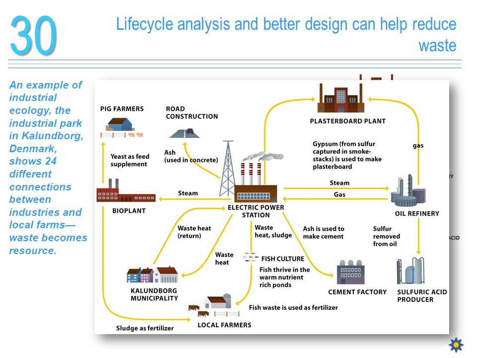Lifecycle analysis and better design can help reduce waste30 An example of industrial ecology, the industrial park in Kalundborg, Denmark, shows 24 di