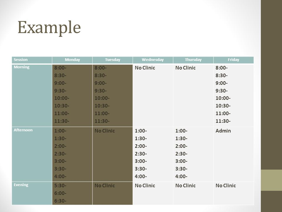 Example SessionMondayTuesdayWednesdayThursdayFriday Morning 8:00- 8:30- 9:00- 9:30- 10:00- 10:30- 11:00- 11:30- 8:00- 8:30- 9:00- 9:30- 10:00- 10:30- 11:00- 11:30- No Clinic 8:00- 8:30- 9:00- 9:30- 10:00- 10:30- 11:00- 11:30- Afternoon 1:00- 1:30- 2:00- 2:30- 3:00- 3:30- 4:00- No Clinic 1:00- 1:30- 2:00- 2:30- 3:00- 3:30- 4:00- 1:00- 1:30- 2:00- 2:30- 3:00- 3:30- 4:00- Admin Evening 5:30- 6:00- 6:30- No Clinic