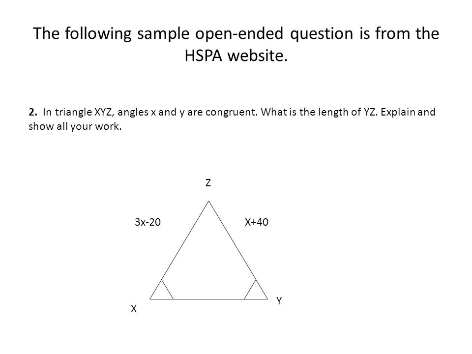 The following sample open-ended question is from the HSPA website.