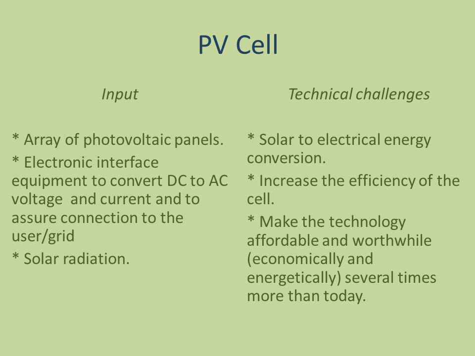 PV Cell Technical challenges * Solar to electrical energy conversion.