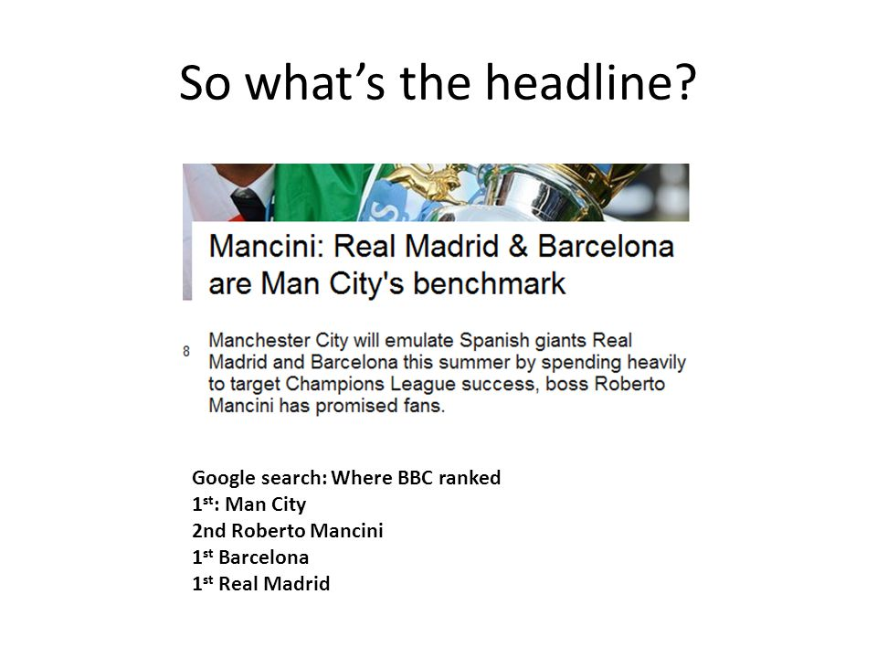 So what's the headline.