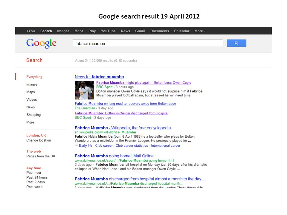Google search result 19 April 2012