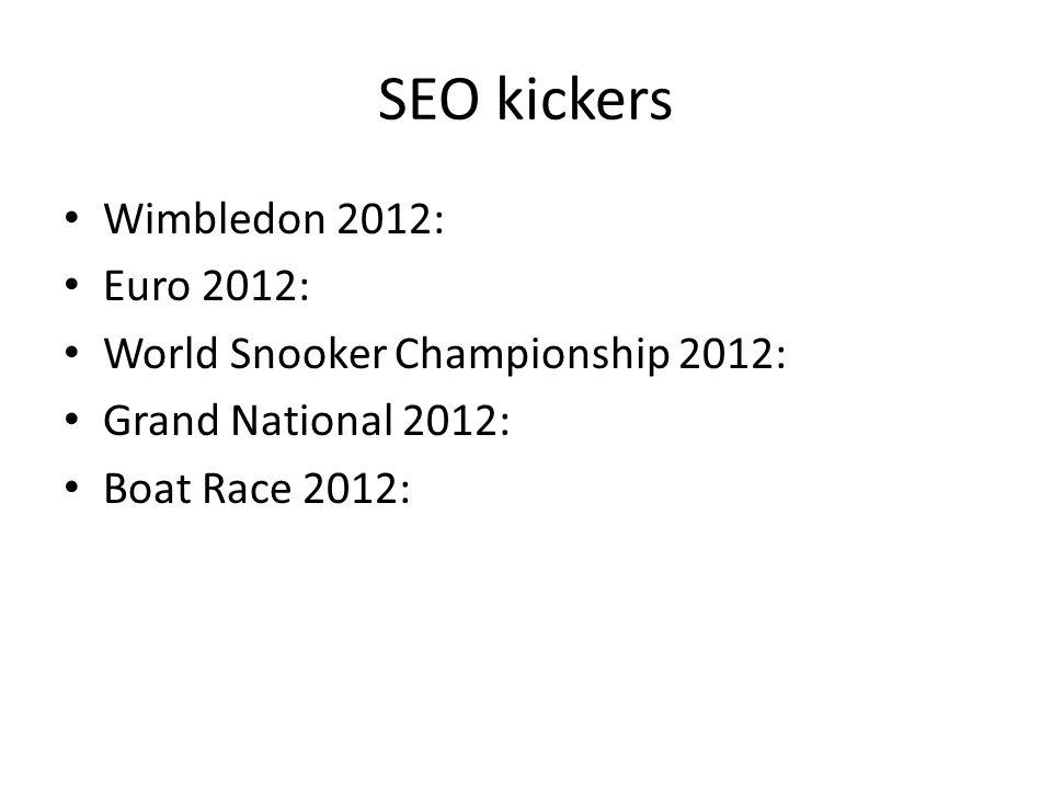 SEO kickers Wimbledon 2012: Euro 2012: World Snooker Championship 2012: Grand National 2012: Boat Race 2012: