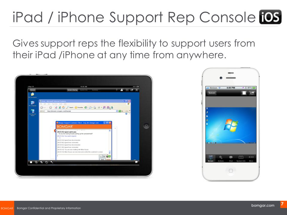 Bomgar Product Strategy 7 Gives support reps the flexibility to support users from their iPad /iPhone at any time from anywhere.