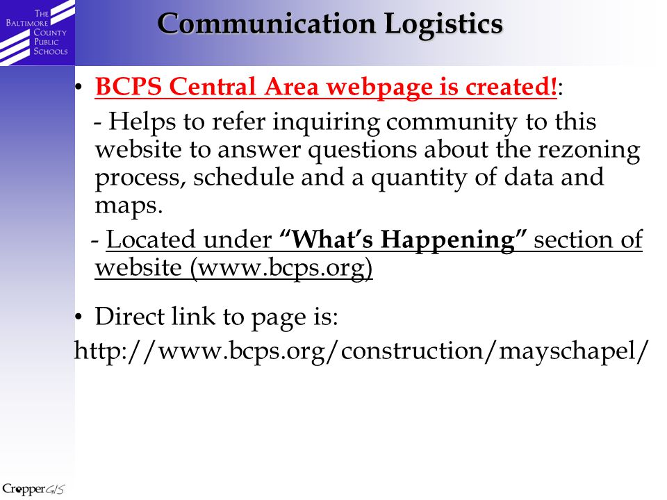BCPS Central Area webpage is created.